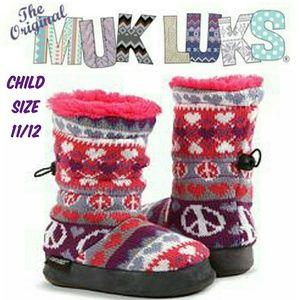 MukLuks Girls Peace Sign Knit Slipper Boots